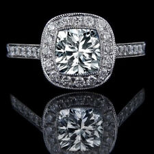 Cushion Solitaire with Accents Fine Diamond Rings