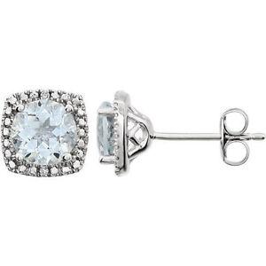 Aquamarine & Diamond Halo-Style Earrings In Sterling Silver