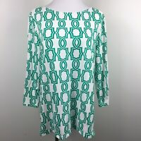 Chicos Sz 2 Knit Top Green Geometric Print Scoop Neck 3/4 Sleeve 100% Cotton