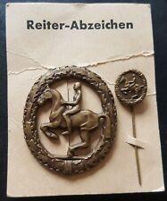 ✚7462✚ German post WW2 1957 pattern Riding Badge Das Reiterabzeichen BRONZE