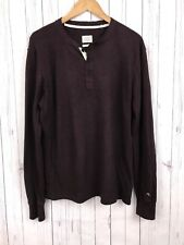 rag & bone Mens Red Burgundy Long Sleeve Cotton Henley Shirt Medium