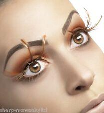 Ladies Long Brown Feather Fake False Eyelashes Drag Queen Hen Do Fancy Dress