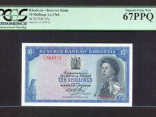 Rhodesia:P-27,10 Shillings,1966 * Queen Elizabeth II * PCGS S. Gem UNC 67 PPQ *