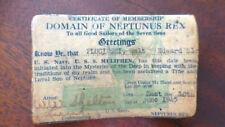 US Navy WWII Domain Of Neptunus Rex USS Muliphen Ship Sailor Card Signed 1945