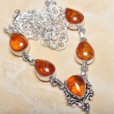 """Handmade Baltic Faux Amber Gemstone 925 Sterling Silver Necklace 19.5"""" #N00503"""