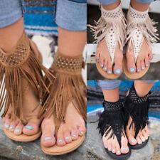 Summer Clip Toe Beach Thong Shoes Bohemia Tassel Slippers Flip Flop Flat Sandals