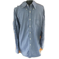 J Mclaughlin Mens XL Blue White Checked Long Sleeved Button Front Cotton Shirt
