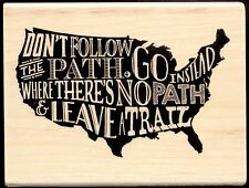 HERO ARTS rubber stamp LEAVE A TRAIL wood mounted Travel Sentiment, USA Map
