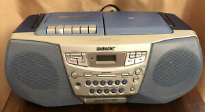 Working Sony CFD-922 CD/Radio/Cassette Boombox Translucent Clear Blue Player