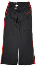 adidas Mens Essentials 3-Stripes Regular Pant Tricot Open Black/RED Stripes NEW