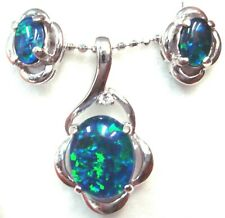 Natural Triplet Opal Pendant + Earring set Solid 925 Sterling Silver 18k WGP