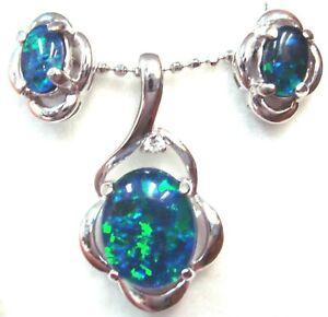 Natural Triplet Opal Pendant + Earring set Solid 925 Sterling Silver 18k WGP