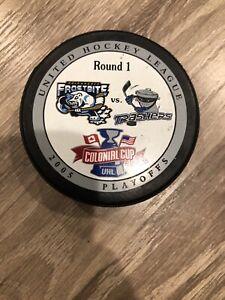 Adirondack Frostbite Danbury Trashers 2005 UHL Colonial Cup Playoff Hockey Puck