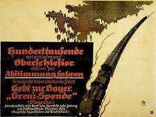 PROPAGANDA POLITICAL PLEBISCITE SILESIA GERMANY POLAND TRAIN VOTE POSTER LV3755