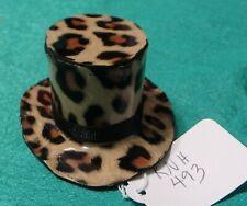 Brown Leopard Print Top Hat w Black Ribbed Ribbon Band Ken Barbie Doll Knh493