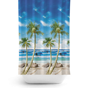 Extra Long and Wide Fabric Shower Curtain 240cm  wide by 200cm drop With Palms