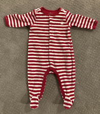 Red/White Stripe Footed Terry One Piece 3-6 Months Christmas Ready! 🎅🏻 HoHoHo