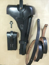 """Latest Luger P-08 8"""" inch Artillery Holster w. Stock Straps - BLACK LEATHER"""