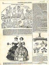 Mode Robe Jardin d'Hiver Bande-Dessinée Croquis de Rodolphe Töpffer GRAVURE 1848
