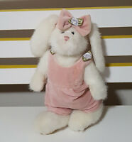 THE BOYDS COLLECTION RABBIT BEANIE  WITH PINK OUTFIT AND BOW PLUSH TOY 24CM TALL