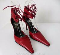 ZOE WITTNER  Shoes Red Lace Up Leather High Heels Pumps  Size 38.5