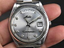 VINTAGE MIDO COMMANDER 2834-2 25J SS SWISS ETA DAY DATE AUTOMATIC MENS WATCH