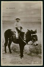 Child Boy Beach Donkey Pony Horse original old 1920s real private photo postcard