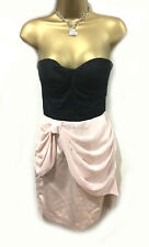 Mini Vestido Lipsy 2 in1 10 Negro Falda Con Cuentas Lazo Rosa Corsé Y2K strapeles Fiesta