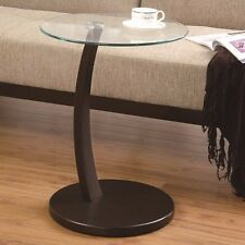 Coaster Round Accent Table with Glass Top and Cappuccino Base