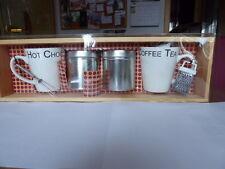 Wandregal ,Küchenablage, Hängeregal mit 2 Kaffee- und Teetassen (Holz)