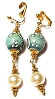 Long Gold Green Ivory Pearl Clip-On Earrings Drop Dangle Glass Bead Classy