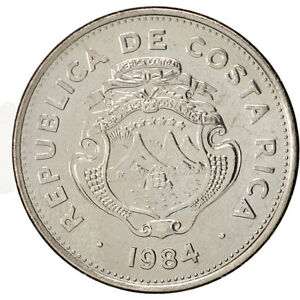[#99028] Costa Rica, 2 Colones, 1984, AU(55-58), Stainless Steel, KM:211.2