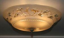 """Antique 12"""" beige glass Art Deco flush mount light fixture ceiling chandelier"""