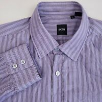 Hugo Boss Men's Button Up Shirt Long Sleeve Size Large Cotton Striped Purple