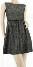 $188 AQUA Dresses Designer Gunmetal Metallic A Line Jacquard Cocktail Dress US 2