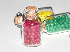 1 Glass Small bottle charm vial red Gum balls candy food miniature dollhouse