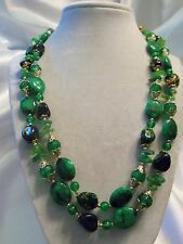 (HONG KONG) Vintage Double-Strand Shades of GREEN Lucite Gold Necklace 15N319