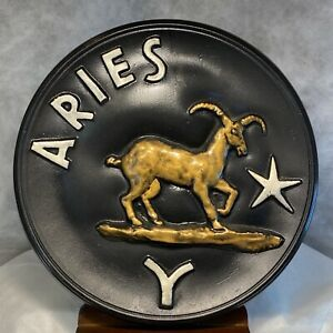 "VTG Astrology Zodiac ARIES Black Gold Silver 10 1/2"" Hanging Plaque Decor L"