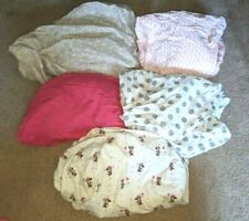 Lot Of 5~Baby Girl Pink Grey Crib Sheets~Disney Minnie Mouse~Trend Lab~Bedding