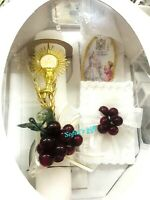 New Girls First Holy Communion Candle Box Gift 5Pc Set Missal Rosary Spanish