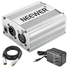 Neewer 1-Channel 48V Phantom Power Supply with Adapter and XLR Cable