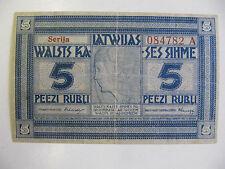 Latvia 5 Rubli Banknote P.3b  (Fine) Series A (1919)