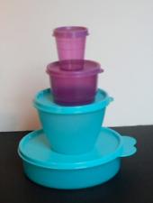 New Tupperware Little Bit Everything 4pc Set ~Bowls~Snack Cup~Midget Aqua Purple