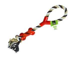 KNOTTED ROPE TUG DOG TOY WITH BONE THROW FETCH CHEW
