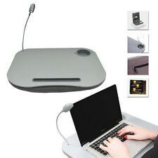 PORTABLE LAP TOP CUSHION READING LAPTOP TABLE TRAY WITH 5 LED LIGHT & CUP HOLDER