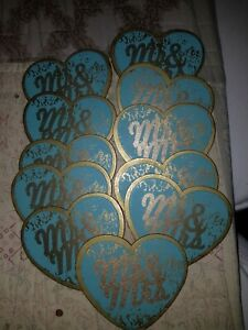 11 Wooden Heart Mr& Mrs turquoise and gold color