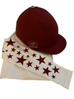 LeMieux Burgundy Hat Silk and matching GGGear Cross Country Base layer,