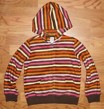 NWT Gymboree Girls Full Zip Fleece Hoodie Jacket M 7-8 Brown Multi Stripe New