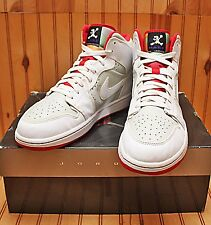 2008 Nike Air Jordan I 1 Mid Hare Size 12 - White True Red Silver - 374454 011