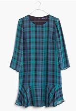 NWT $168 Madewell  silk ruffle-hem dress in dark plaid Size 0